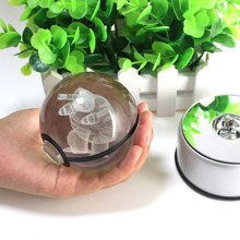 3D Blastoise Crystal Ball Fancy LED Lighting and Spinning Primary Base Advance 3D Laser Engraving Valentine Children's Gift