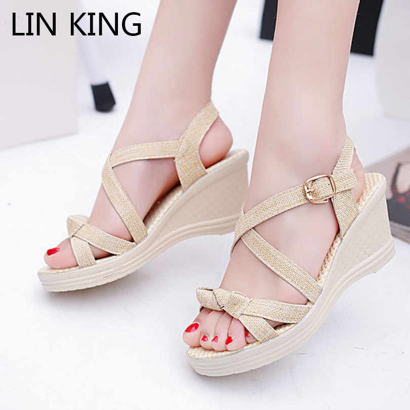 e830dcb73bc40e LIN KING Sweet Bowtie Women Sandals Thick Sole Wedges Platform Shoes Height  Increase Summer Shoes Leisure