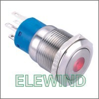 ELEWIND 19mm Dot illuminated double pole Latching push button(PM192F-22ZD/R/12V/S)