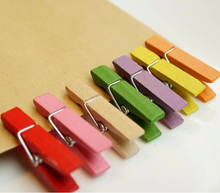 Hot sale 20PCS/lot 3.5cm Wood Clips Random Mini Colored Spring Photo Paper Peg Pin Clothespin Craft Clips Party Decoration Jz001