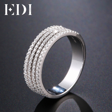 EDI Unique Pave Natural Diamond Ring 14k 585 White Gold Wedding Bands For Women Fine Jewelry(China)