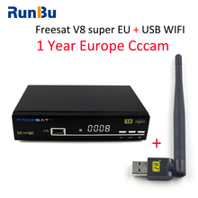 1 Year Europe Cccam Server Full HD 1080P Freesat V8 Super DVB-S2 Satellite Receiver Italy Spain Arabic Cccam Cline With USB Wifi(China)