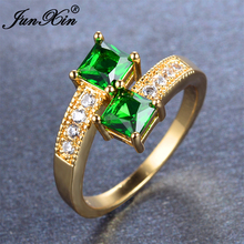 JUNXIN 2017 Simple Male Female Green Ring Yellow Gold Filled Jewelry Vintage Party Wedding Ring May Birthday Stone Gift