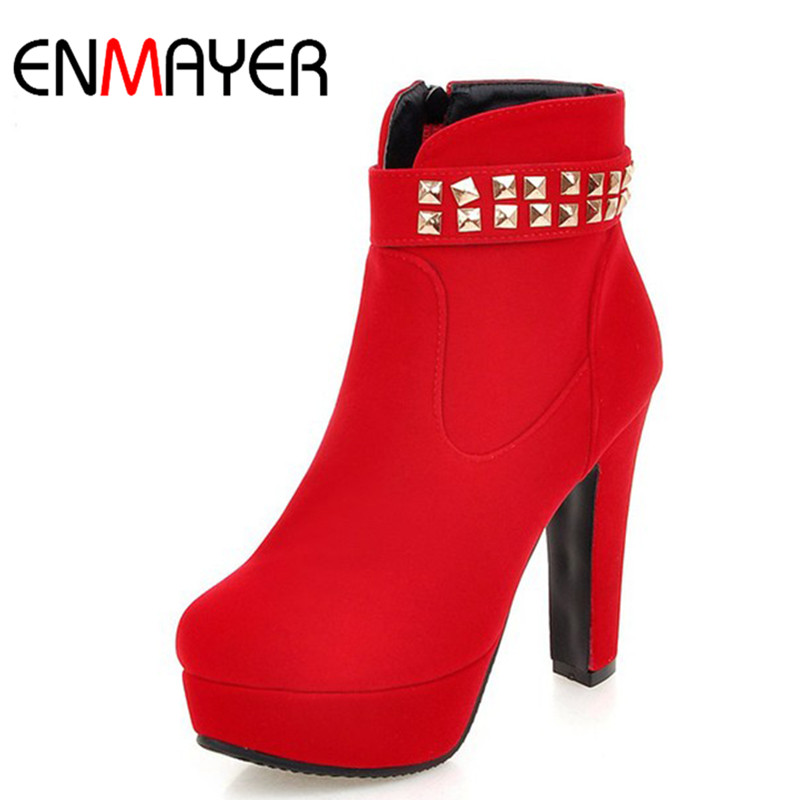 ENMAYER High Heels Round Toe Zipper Shoes Woman Ankle Boots for Women Platform Shoes Plus Size 34-43 Red Party Wedding Shoes<br>