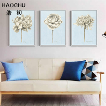 HAOCHU Sketch Arts Flowers Bouquets Print Poster Dahlia Simple Europe Wall Pictures Canvas Painting Living Room Decor Murals(China)