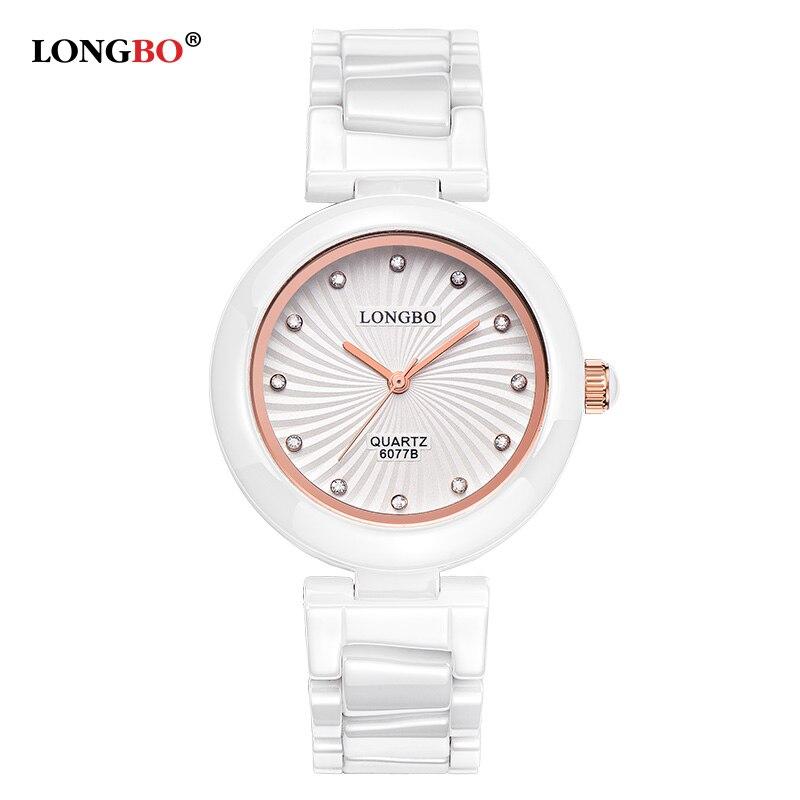 2017 LONGBO Brand Ladies Designer Watches Luxury Watch Women Elegant Women Ceramic Steel Waterproof Quartz-Watch kol saat 6077<br><br>Aliexpress