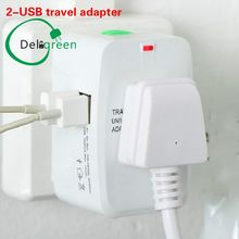 2-USB ALL IN one universal adapter surge protector  socket plug for traveling with world-wide UK AU US AC plugs  free shipping