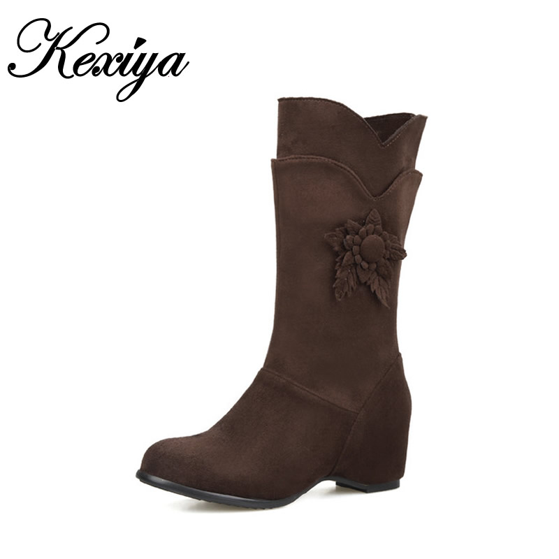 2015 Big size 28-52 new winter women shoes Height Increasing high heel snow boots fashion Appliques Mid-Calf boots HQW-101<br>