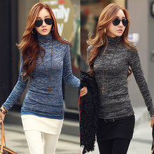 Women Winter Fashion Slim Sweater Top 2017 Solid Color Turtleneck Long Sleeve Bottoming Knitted Pullovers Sweater Jumper Shirt