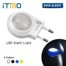 iTimo 1PC Mini LED Night Light Auto Sensor High Quality 0.7W EU US Plug Night Lamp Smart Lighting Control Baby Bedroom Lamp