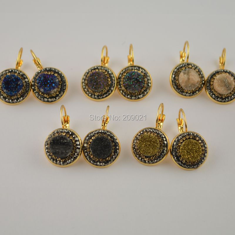 Trendy ~ 6Pair Plated Colors With Mixed colors Quartz Stone Pave Rhinestone Clip Earrings Jewelry Finding