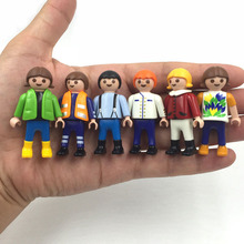5pcs 5.5cm Playmobil toys set original 2016 New Playmobil police pirate princess horse house action figures lot gifts for kids