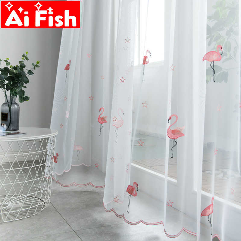 Pink Lace Bottom Flamingos Embroidered Voile Tulle Curtains for Children Bedroom Gray High-grade Blackout Curtains Panel wp238#3