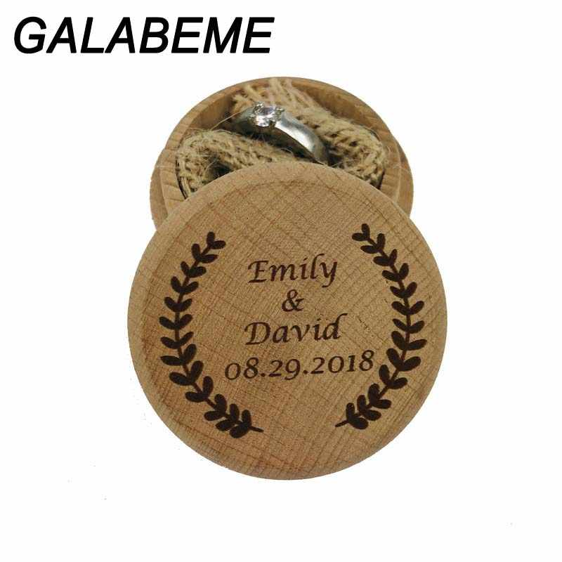 Personalized Names date logo Rustic wooden Wedding Ring box Bearer Engraved Wood Custom Ring Box holder wedding decoration