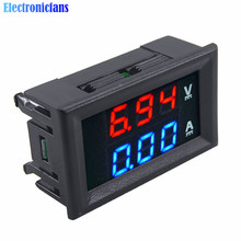 Free Shipping DC 100V 10A Voltmeter Ammeter 0.28 Inch Dual Blue + Red LED Digital Display Voltage Current Meter With Lines