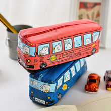 1pcs Cute School Bus Pencil Case Large Capacity Canvas Bus Pencils Case Red Blue Students Stationary Case(China)