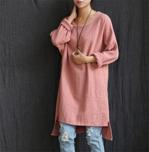 Johnature 2017 New Autumn Women Solid Dress Loose O-Neck Cotton Linen Knitted Casual Cute Chinese Style Full Plus Size Cheap