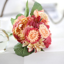 Keythemelife 1 Bouquet Artificial Flowers Peony Dahlias Silk Flower Fall Vivid Fake Leaf Wedding Home Party Decoration B6