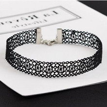 NK246 New Sexy Gothic Tattoo Black Harajuku Punk Hollow Flower Lace Crochet Chokers Necklace for Women Jewelry Girl Clavicle