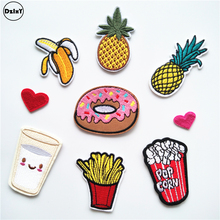 1 PCS Cake Milk parches Embroidered Iron on Patches for Clothing DIY Stripes Hamburg Clothes Stickers Custom Heart Badges @K(China)
