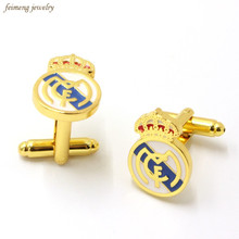 Spain Football Club Cufflinks For Mens Crown Shirt Brand Cuff Buttons Top Grade Fashion Enamel Cuff Links(China)