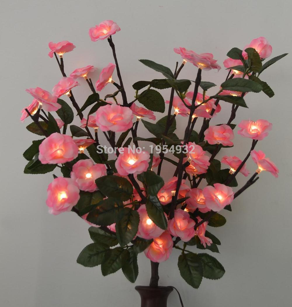 "Battery 60 LED Blossom Rose Flower Branch Light in 20"" with Green Leaf Decoration, 3V Voltage Timmer Battery Box(China)"
