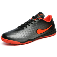 MAULTBY Men's Orange / Black TF Turf Sole Outdoor Cleats Football Boots Shoes Soccer Cleats #STF31703B