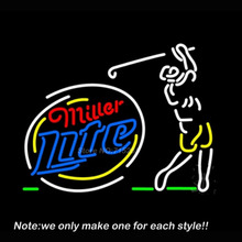 Miller Lite Sequencing Swinging Golfer Neon Sign Glass Recreation Room Handcraft Neon Bulbs Store Display Commercial Gifts 24x20(China)