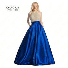 robe paillette crystal Woman robe de soiree manche longue rhinestone Long Sexy Prom Dress Evening OL102881(China)
