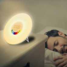Creative Colorful Bedroom Wake Up RGB LED Sunrise Simulation Radio Alarm Clock Light Add Snooze Mode FM Music(China)