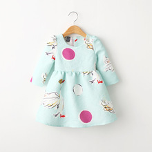 Fashion lovely swan printed toddler girl clothing winter smocked dress