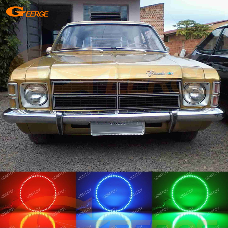 For Chevrolet Opala Caravan GM 1975 1976 1977 1978 1979 Excellent RGB LED Angel Eyes kit Multi-Color Ultra bright halo rings<br>