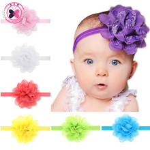 Haimeikang Sweet Chiffon Lace Flower Kids Headband Hair Band Cute Girls Big Flower Elastic Ribbon Headbands Hair Accessories