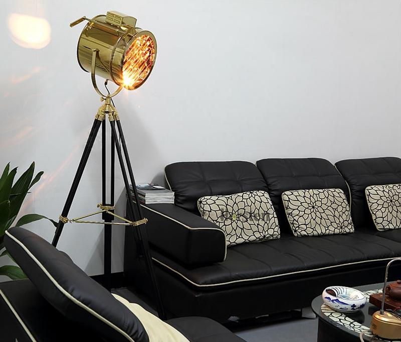 Industrial Bar Nordic American Creative Studio Silver Golden Floor Lights Tripod Searchlight Floor Lamps E27 (2)