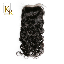 King Rosa Queen Brazilian Natural Wave Lace Closure Free Part Human Hair Closure Bleached Knots With Baby Hair Medium Brown Lace