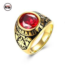 Vintage Army Rings Gold-plated Ring With CZ Stone Stainless Steel Pattern Ring For Male Jewelry Red Crystal Military Army Ring