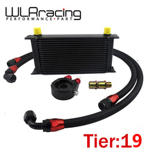 WLRING STORE- UNIVERSAL 19 ROWS OIL COOLER+OIL FILTER SANDWICH ADAPTER BLACK + NYLON STAINLESS STEEL BRAIDED AN10 HOSE