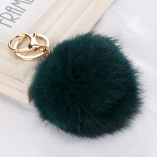 2016 Charm Keyrings Pom Pom Rabbit Faux Fur Dark Green Ball Keychain Keychains Pendant Key Chains Rings For Bags Car Cell Phone