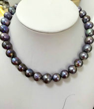 HUGE 10-11 MM SOUTH SEA GENUINE BLACK grey PEARL NECKLACE free shipping clasp