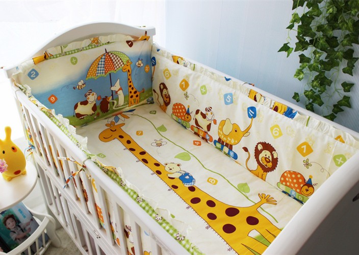 Promotion! 6PCS Crib Bedding Set Animal Design Baby Bedding Set for Newborn (bumpers+sheet+pillow cover)
