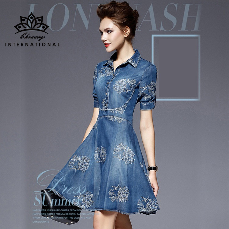 Women Clothes 2017 Autumn Vintage Denim Dress Famous Brand Embroider Half Sleeve Dresses European Style Party Evening Clothing