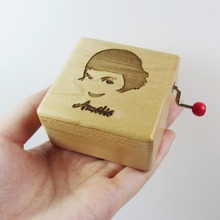 Handmade Wooden Ameilie music box special souvenir gift box, birthday gifts free shipping(China)
