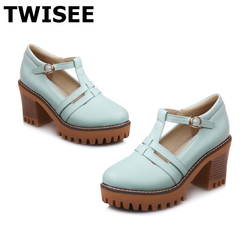 Round Toe Buckle Strap Comfortable Square heel chaussure femme women high heels shoes pu leather fashion platform<br>