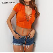 2017 summer women t-shirt short sleeve v neck hollow lace up solid crop top slimming mini top orange fashion camiseta size s-l