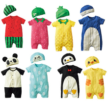 Fashion Baby Clothes Cartoon Baby Boy Girl Rompers Cotton Animal And Fruit Pattern Infant Jumpsuit+Hat Set Newborn Baby Costumes