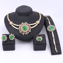 African Costume Cat Eyes Stone Jewelry Sets Gold Color Fashion Wedding Women Bridal Accessories Crystal Necklace Earring Set