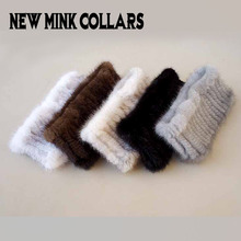 Women fashion fur Scarf Mink knit scarves Warm fur headband(China)