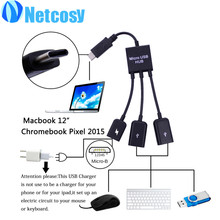 3 Ports Type-C USB 3.1 OTG HUB Cable for Macbook 12 /Chromebook Pixel2016 black Only electricity, no charge