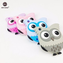 Let's Make 5pcs Silicone Cartoon Owl BPA Free DIY Jewelry Accessories Baby Teether Food Grade Silicone Baby Toys Cute Pendants(China)