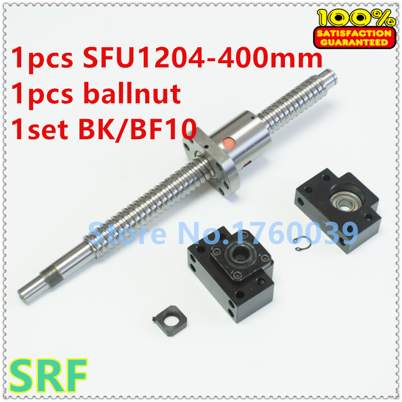 1pcs 12mm 1204 Ballscrew SFU1204 Length 400mm C7 Rolled Ball Screw  +1pcs SFU1204 ballnut+1set BK/BF10 ballscrew end support<br>
